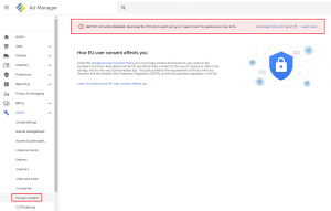 TCF error report in Google Ad Manager